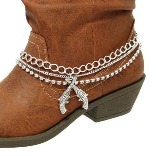Jewelry Boot Charm Anklet Beaded Western Double Shot Guns Silver Bling