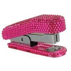 New Hot Pink Rhinestone Bling Stapler Desk Office Supplies