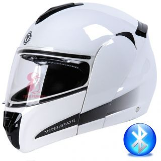 TORC Blinc Bluetooth Modular Flip Up Motorcycle Helmet DOT T22B White