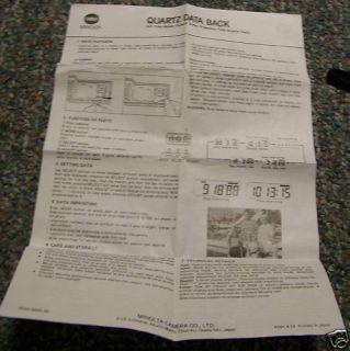 Minolta Quartz Data Back Camera Owners Manual