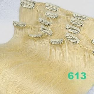 20Clip in Real Human Hair Extensions 613 Blonde 70g