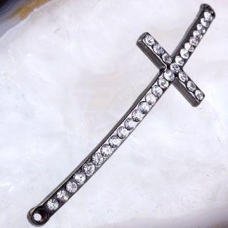 Bling Curved Side Ways Crystal Rhinestones Cross Bracelet Connector