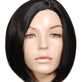 PW68 Straight Black Bob Short Skin Top Wig Free SHIP