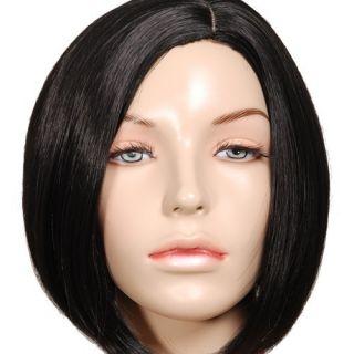 PW68 Straight Black Bob Short Skin Top Wig Free SHIP