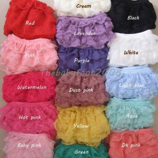 New Petti Lace Ruffled Ruffle Bloomer Baby Girl Diaper Cover Panty 6