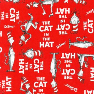 Robert Kaufman Dr. Seuss The Cat in the Hat Words on Red Fat Quarter