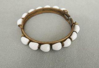 Vtg Miriam Haskell Bracelet Hinged Bangle Hand Wired White Milk Glass