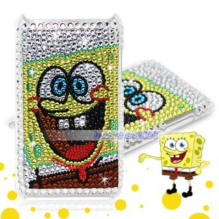 BLING SPONGEBOB DIAMOND HARD BACK COVER CASE FOR IPOD TOUCH 3 Gen 3G