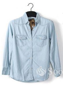Retro Denim Top Shirts Spread Collar Flap Pocket Jean Blouses