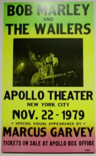 Bob Marley The Wailers Concert Poster 1979 w Marcus Garvey NYC 14X22