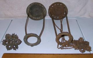 Lot 2 Hanging Hall Cottage Oil Lamp Cast Iron Pulley Frames Tucker B H