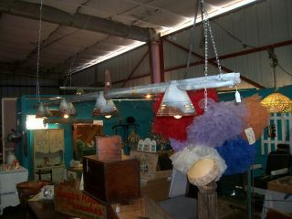 GREAT SHABBY COTTAGE CHIC REPURPOSED 10 FOOT TRACK LIGHTING CHICKEN