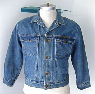 vtg 70s western wrangler blue denim jean jacket coat