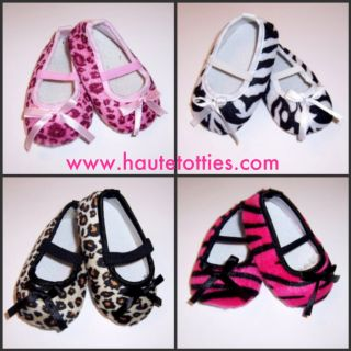 Girls Boutique Baby Shoes Animal Print Zebra Leopard Cheetah