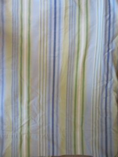Pottery Barn Blue Green White Striped Shower Curtain