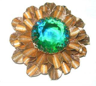 Vintage Pretty Large Green Blue Glass Rhinestone Brooch