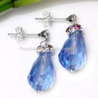 Sky Blue Crystal Glass Teardrop Dangle Earring Stud 2pc