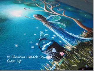 erback Art Serene Large Blue Night Sky Sparkling Hearts