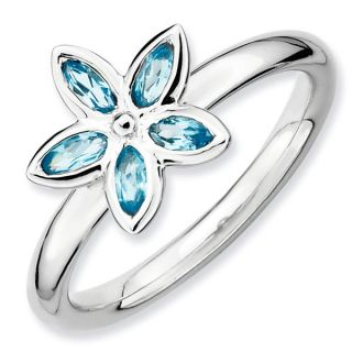 Sterling Silver Blue Topaz Romantic Flower Stackable Ring