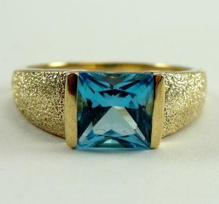 14K Yellow Gold Ring Blue Topaz Princess Cut 6.8 X 7.25mm Textured