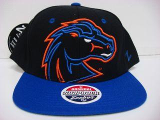 Boise State Broncos Zephyr Cap Flat Brim Snapback Black Xray Hat NCAA