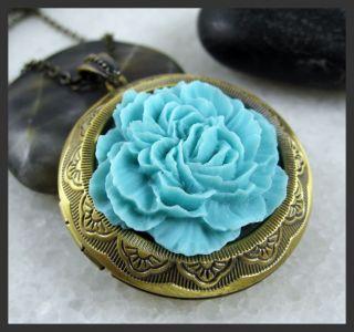 Spring Blue Cotton Rose Flower Brass Picture Locket Pendant Fashion