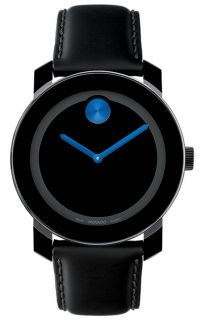 Movado Bold Mens Black Dial Blue Accents Black Leather Strap Watch