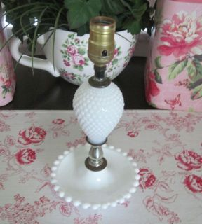 White Hobnail MILK GLASS Table Lamp w New BLUE & WHITE GINGHAM Shade