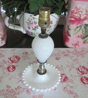 White Hobnail MILK GLASS Table Lamp w New BLUE & WHITE GINGHAM Shade