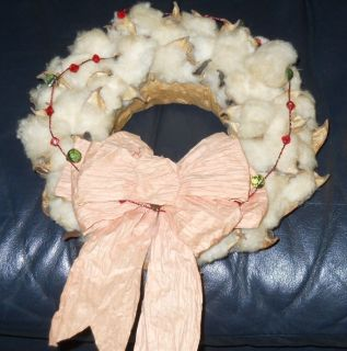 Real Cotton Boll Flower Wreath Weevil Hand Made Farm Old