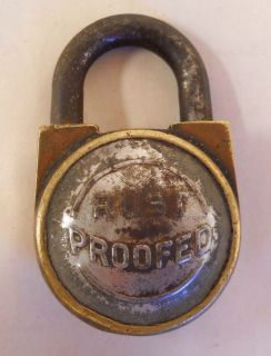 Vintage Antique Brass or Bronze Padlock RUST PROOFED No Key 2