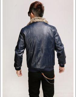 Winter PU Leather Fur Collars Windproof Snow Warm Jacket