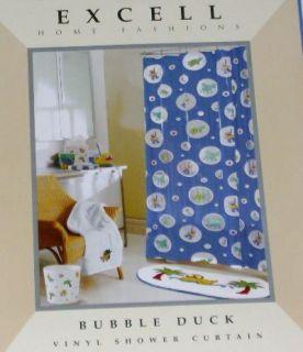 Blue bubble duck turtle frog vinyl shower curtain