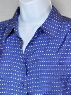 Crew Silk Blouse Shirt Blythe Button Front Blue Pebble Dot EUC$128