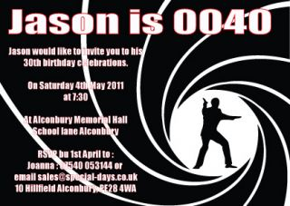 James Bond 007 Personalised Birthday Party Invitations Matte or Photo