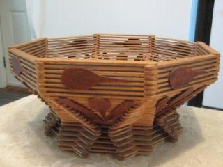 Vtg Folk Tramp Art Popsicle Stick Octagon Fruit Basket Folky