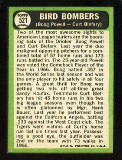 1967 Topps 521 Bird Bombers Boog Powell Curt Blefary Baltimore Orioles