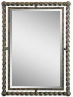 Large Twisted Wrought Iron Beveled Wall Mirror Rust Wash Finish