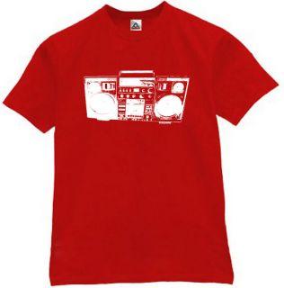 Boom Box T Shirt Vintage Retro Old School DJ Tee Red M