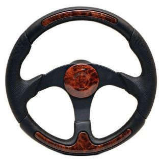 14 1 4 inch Faux Cherry Woodgrain Black Boat Steering Wheel