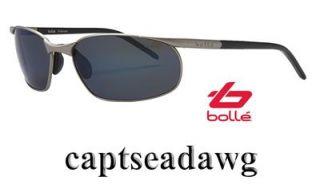Bolle Cruise Sunglasses Satin Alum GB 10 Blue Mirror Polarized Lenses