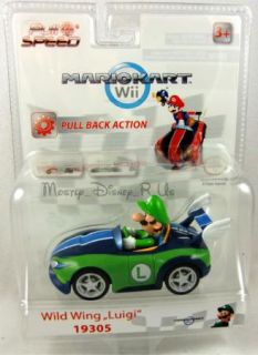 Nintendo Mario Kart Wii Wild Wing Luigi 19305 Pull Back Toy Car New