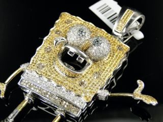 10K White Gold Cartoon Spongebob Diamond Pendant 6 Ct