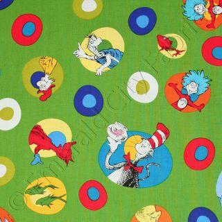 Robert Kaufman Celebrate Dr Seuss Suess Cat In The Hat Dot Green Kids