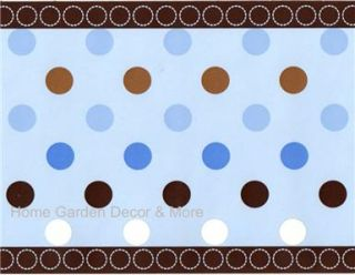 Wallpaper Border Pre Pasted Avalon Blue Brown Polka Dots Baby