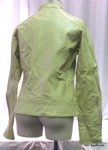 Billa Bong Sz L Cream Leather Ladies Biker Jacket Zipper Motorcycle