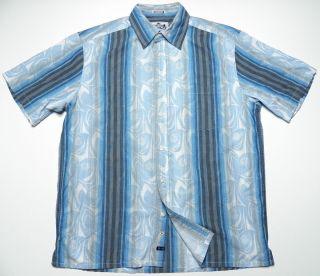 ROBERT GRAHAM R G MENS LARGE CLUB SHIRT FLORAL OCEAN BLUE CHARCOAL