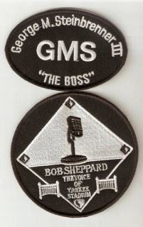 NY Yankees George Steinbrenner gms Bob Sheppard Memorial Retired Patch