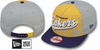 NWT NBA Los Angeles Lakers ESPN BRICK Snapback Flat Brim Cap Hat
