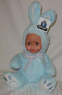 Blue Plush Doll Vinyl Face Soft Body Bunny Rabbit Suit